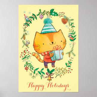 Gato lindo del navidad con el poster grande del