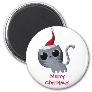 Gato lindo del navidad de Kawaii Imán Para Frigorifico