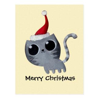 Gato lindo del navidad de Kawaii Postal