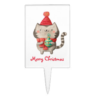 Gato lindo del navidad decoraciones para tartas