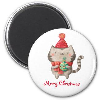Gato lindo del navidad imán redondo 5 cm