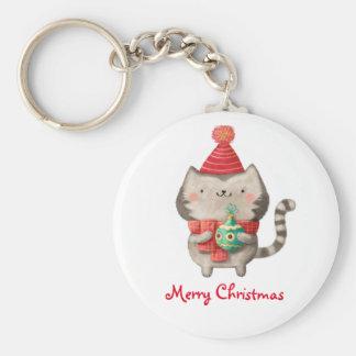 Gato lindo del navidad llavero redondo tipo pin
