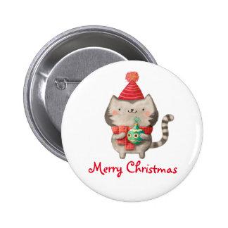 Gato lindo del navidad pin redondo 5 cm