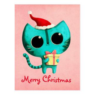 Gato lindo del navidad postales