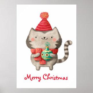 Gato lindo del navidad póster