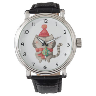 Gato lindo del navidad relojes de mano