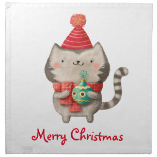 Gato lindo del navidad servilleta de papel
