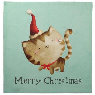 Gato lindo del navidad servilletas de papel