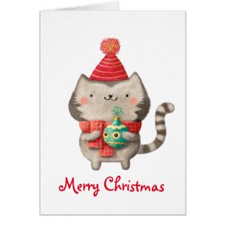 Gato lindo del navidad tarjeta de felicitación