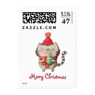 Gato lindo del navidad timbres postales