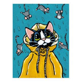 Gato lindo del smoking y llover el ejemplo de los tarjeta postal