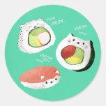 Gato lindo del sushi etiqueta redonda
