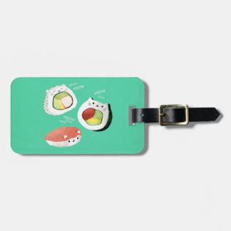 Gato lindo del sushi etiquetas para maletas