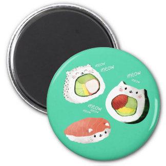 Gato lindo del sushi imán redondo 5 cm