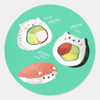 Gato lindo del sushi pegatina redonda