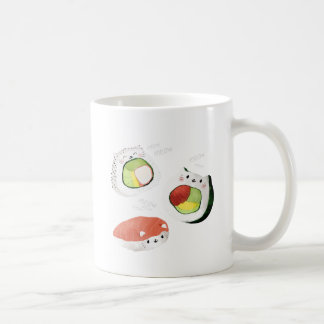 Gato lindo del sushi tazas de café