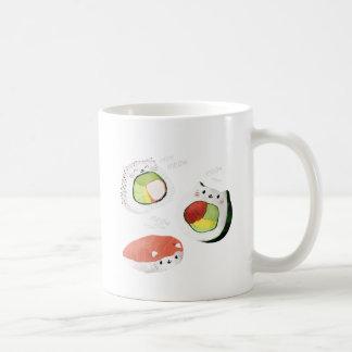 Gato lindo del sushi taza de café