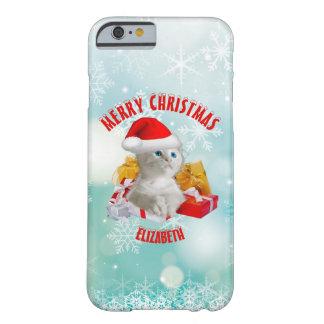 Gato lindo divertido del gatito del navidad con el funda barely there iPhone 6