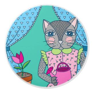 Gato lindo en botón de cerámica de la ventana pomo de cerámica