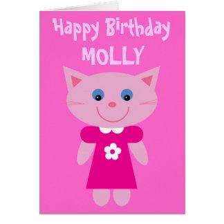 Gato lindo en cumpleaños rosado adaptable del vest felicitación