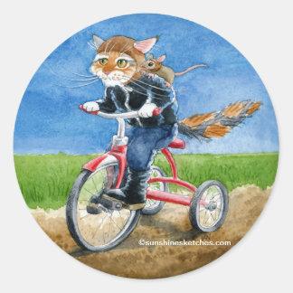 Gato lindo en el pegatina del dibujo animado del