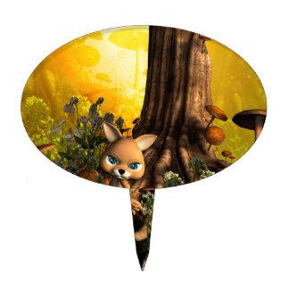 Gato lindo en un bosque del cuento de hadas palillos de tarta