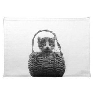 Gato lindo en una foto del vintage de la cesta mantel individual