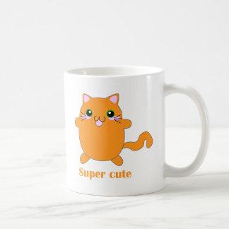 gato lindo estupendo del jengibre tazas de café