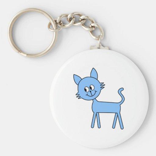 Gato lindo. Gato azul claro que camina Llavero Redondo Tipo Pin