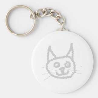 Gato lindo gris llavero redondo tipo pin