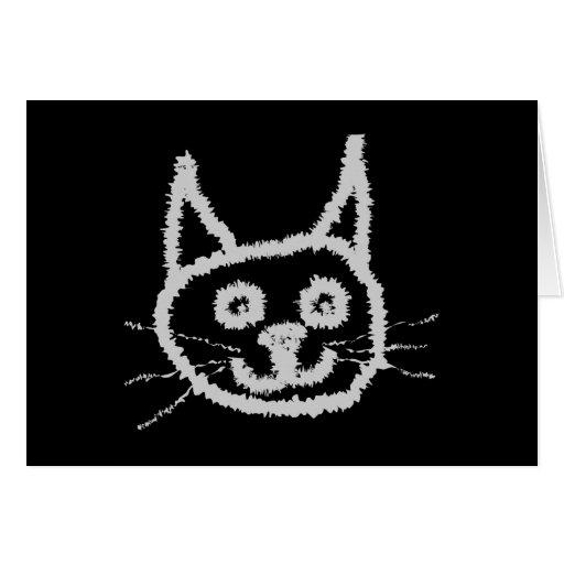 Gato lindo gris tarjeta de felicitación