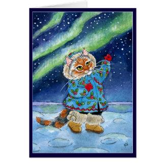 Gato lindo, invierno, aurora boreal, navidad tarjeta de felicitación