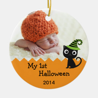 Gato lindo mi 1r ornamento de Halloween Adorno Redondo De Cerámica