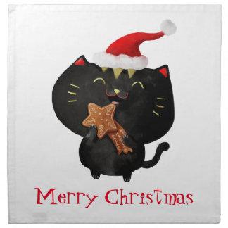 Gato lindo negro del navidad servilletas imprimidas