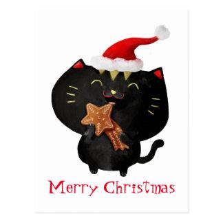 Gato lindo negro del navidad tarjeta postal