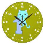 gato lindo número 1 reloj redondo grande