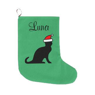 Gato lindo personalizado con el animal de mascota calcetín navideño grande