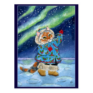 Gato lindo, postal de la aurora boreal