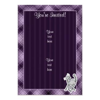 Gato lindo; Púrpura Invitación 12,7 X 17,8 Cm