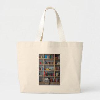 Gato lindo que duerme en los libros de la bibliote bolsas