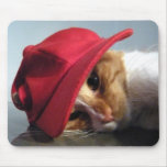Gato lindo que lleva el casquillo rojo Mousepad Tapetes De Ratones