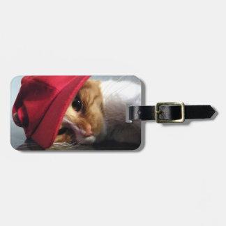 Gato lindo que lleva la etiqueta roja del equipaje etiquetas bolsa