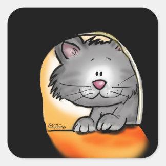 Gato lindo que mira en un agujero del ratón pegatina cuadrada