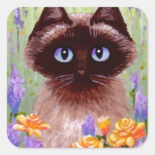 Gato lindo Ragdoll Creationarts color de rosa Pegatina Cuadrada