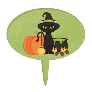 Gato lindo retro del búho de Halloween Decoración De Tarta