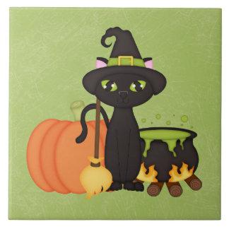 Gato lindo retro del búho de Halloween Azulejos