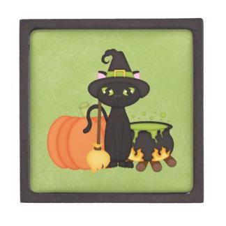 Gato lindo retro del búho de Halloween Caja De Recuerdo De Calidad