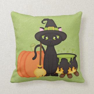 Gato lindo retro del búho de Halloween Cojin