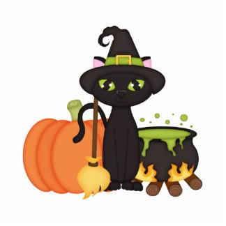 Gato lindo retro del búho de Halloween Escultura Fotográfica