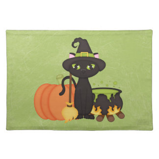 Gato lindo retro del búho de Halloween Manteles Individuales